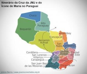 Mapa da Peregrinação da Cruz e do Ícone de Maria no Paraguai