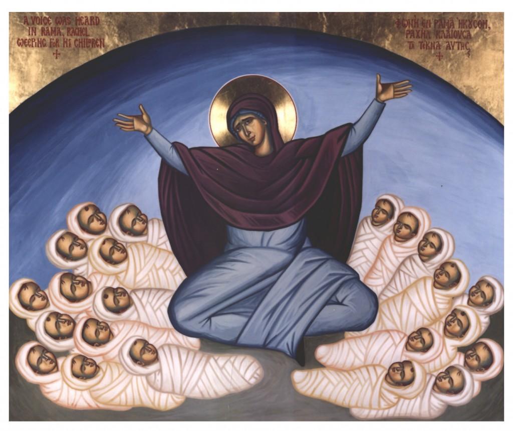 Ícone mostra Nossa Senhora com as crianças martirizadas a manda de Herodes: os Santos Inocentes