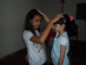 Samara Faustina participando do Ministério para as crianças do Grupo de Oração Jesus Te Ama.